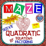 Maze - FREEBIE - Solve Quadratic Equation by Factoring - Level 1