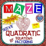 Maze - FREEBIE - Solve Quadratic Equation by Factoring - Level 1