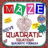 Maze-Quadratic Functions- Solve using Quadratic Formula - Level 2