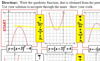 """Maze - Quadratic Functions - Writing QF in """"Vertex Form"""" from Graphs"""