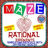 Maze - Rational Exponents - Simplify Radicals with Different Indices