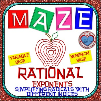 Maze - Rational Exponents - Simplify Radicals with Differe
