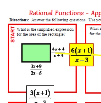 Maze - Rational Expressions - Multiplying RE (Level 3) Applications