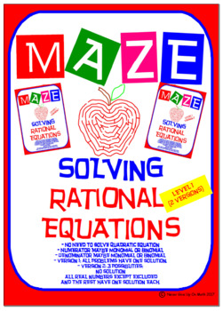 Maze - Solve Rational Equations (Level 1 - 2 Versions)
