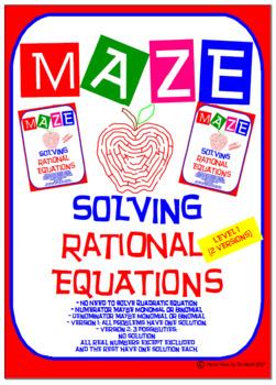 Maze - Solve Rational Equations (Level 1 - 2 Versions)
