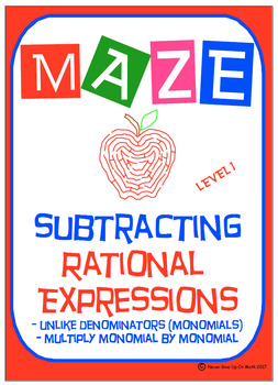 Maze - Rational Expressions - Subtract Unlike Denominators (Level 1 - MONOMIALS)