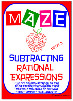 Maze - Rational Expressions - Subtract with Unlike Denominators (Level 3)