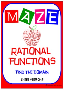 Maze - Rational Functions - Find the Domain (Answers in 3 Versions)