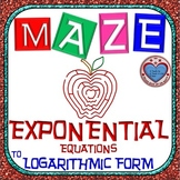 Maze - Rewriting Exponential Equation in Logarithmic Form