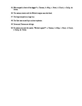 Maze Runner Reading Check Test/Quiz