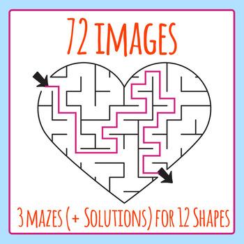 Maze Shapes Bundle - 72 Images!  3 Mazes Per Shape, 12 Shapes.  Commercial Use
