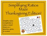Maze: Simplifying Ratios (Thanksgiving Edition)