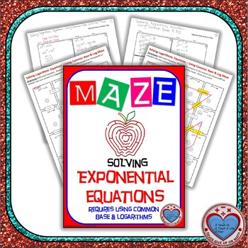 Maze - Solve Exponential Equations (use Common Base & Log)