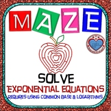 Maze - Solve Exponential Equations (use Common Base & Log) - 2 versions