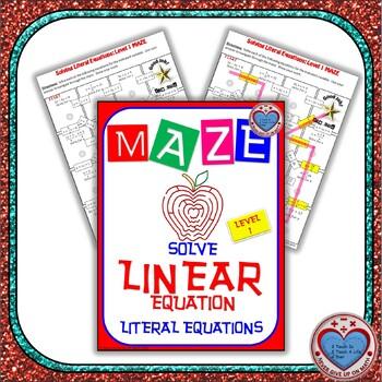 Maze - Solve Literal Equations: Level 1