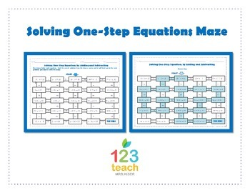One Step Equations Worksheet Adding Subtracting Teaching Resources