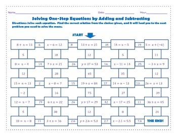 Maze: Solving One-Step Equations by Adding or Subtracting (Worksheet  Activity)