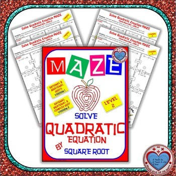 Maze - Solve Quadratic Equation by applying the Square Root Property Level 2