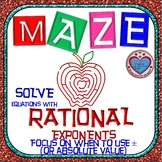 Maze - Solving Equations with Rational Exponents (Use abso