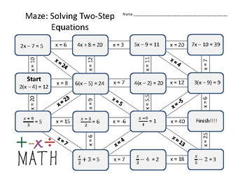 Maze: Solving Two-Step Equations