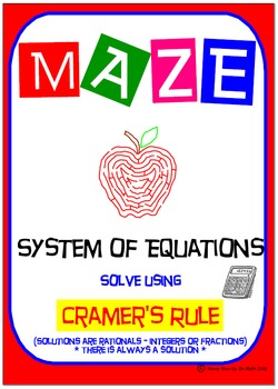 Maze - System of Equations - Solve by Cramer's Rule