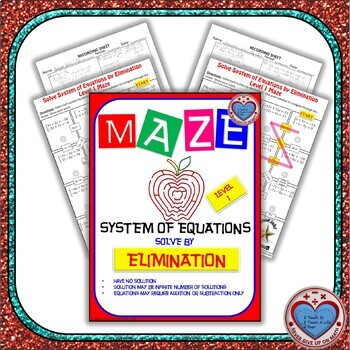 Maze - System of Equations - Solve by Elimination Level 1