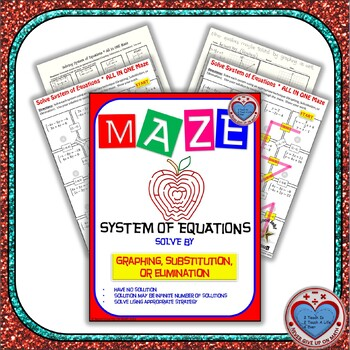 Maze - System of Equations - Solve by Graphing, Substitution, or Elimination