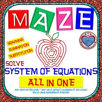 Maze - System of Equations - Solve by Graphing, Substituti