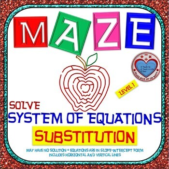 Maze - System of Equations - Solve by Substitution Level 1