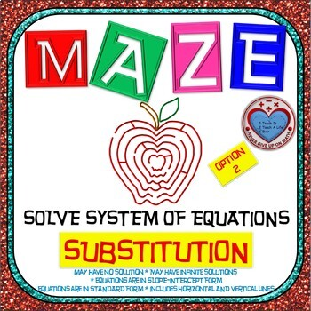 Maze - System of Equations - Solve by Substitution Level 2