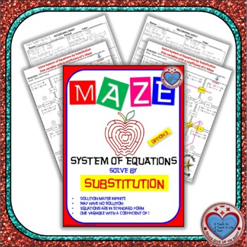 Maze - System of Equations - Solve by Substitution Option 3