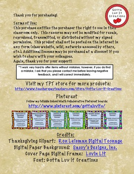 Thanksgiving Math: Proportions Free Download