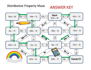 Maze: Using the Distributive Property