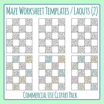 Maze Worksheet Layouts / Templates (2) Clip Art Set for Commercial Use