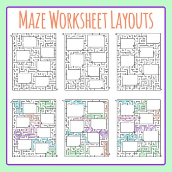 Maze Worksheet Layouts / Templates Clip Art Set for Commercial Use