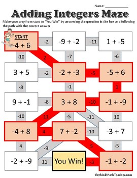 Maze Worksheets - Adding, Subtracting, Mult and Div Integers, and 1 Step Equats