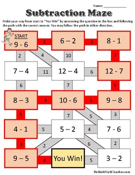 Maze Worksheets - Single and Double Digit Addition & Subtraction