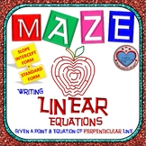 Maze - Writing Linear Equations given point and equation of perpendicular line