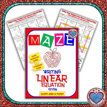 Maze - Writing Linear Equations in Slope-intercept & Standard given m and b