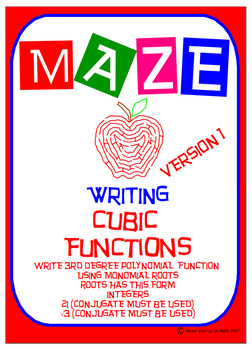 Maze - Writing Polynomial Functions - Version 1 (Cubic Function)
