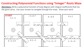 Maze - Writing Polynomial Functions from Integer Zeros (Level 1)