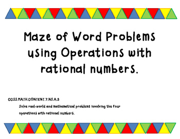 Maze of Word Problems Using Operations with Rational Numbers