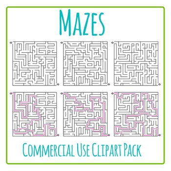 Mazes Clip Art - 3 Mazes and Solved Solutions Commercial U