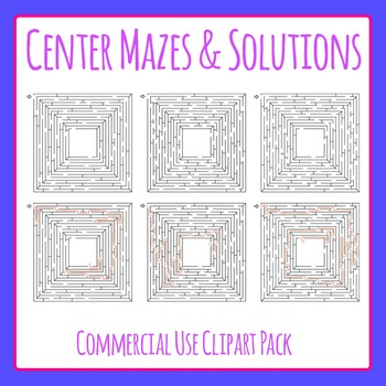 Mazes Clip Art with Solutions - Find the Center Commercial Use Clip Art