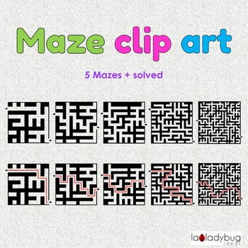 Mazes Clip art. 5 mazes + solved. Commercial use. Maze Clipart.
