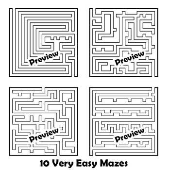 Maze Clip Art - Easy Mazes for Worksheet Design