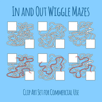 Mazes - In and Out Wiggle Maze With Solutions Clip Art Set for Commercial Use