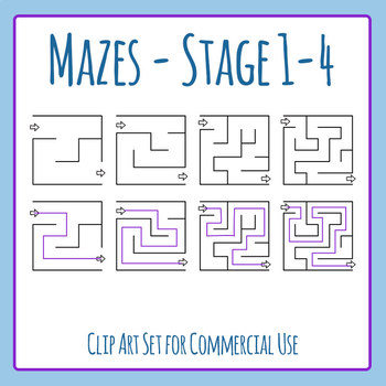 Mazes - Stage 01 - 04 Clip Art Set for Commercial Use