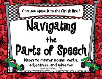 Mazes to Master Nouns, Verbs, Adjectives, and Adverbs (Fun