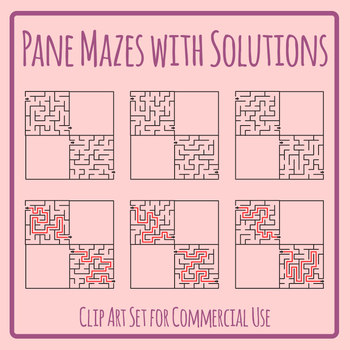 Mazes with Blank Panes /  Templates Clip Art Set for Commercial Use